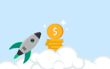 cartoon of a rocket and coins
